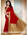 Remarkable Patch Border Work Red Classic Designer Saree