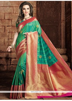 Delightful Weaving Work Art Raw Silk Traditional Designer Saree