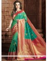 Delightful Weaving Work Art Raw Silk Traditional Designer Saree