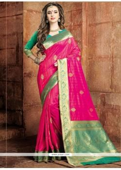 Ideal Art Raw Silk Hot Pink Traditional Saree