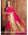 Weaving Art Raw Silk Traditional Designer Saree In Hot Pink