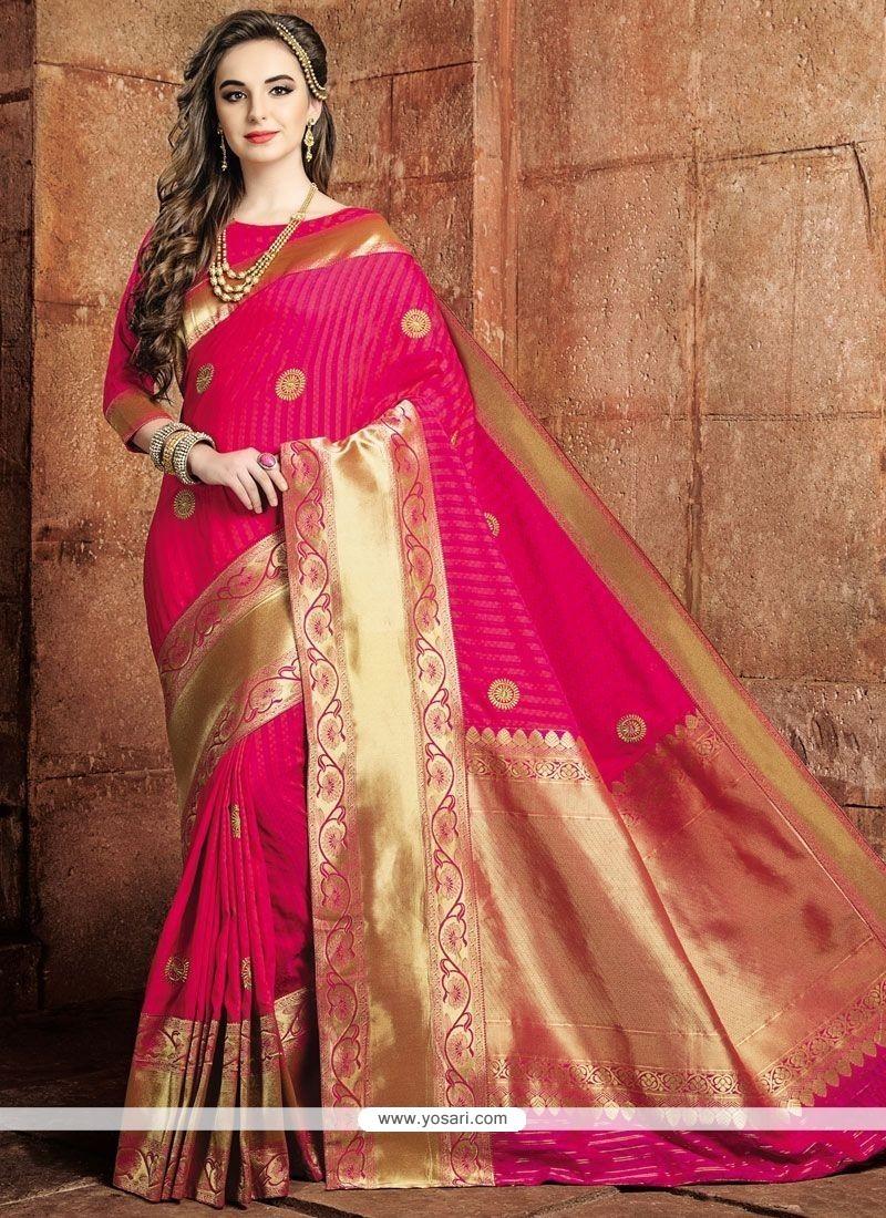 Weaving Art Raw Silk Traditional Designer Saree In Hot Pink