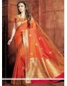 Lively Orange Weaving Work Art Raw Silk Designer Traditional Saree