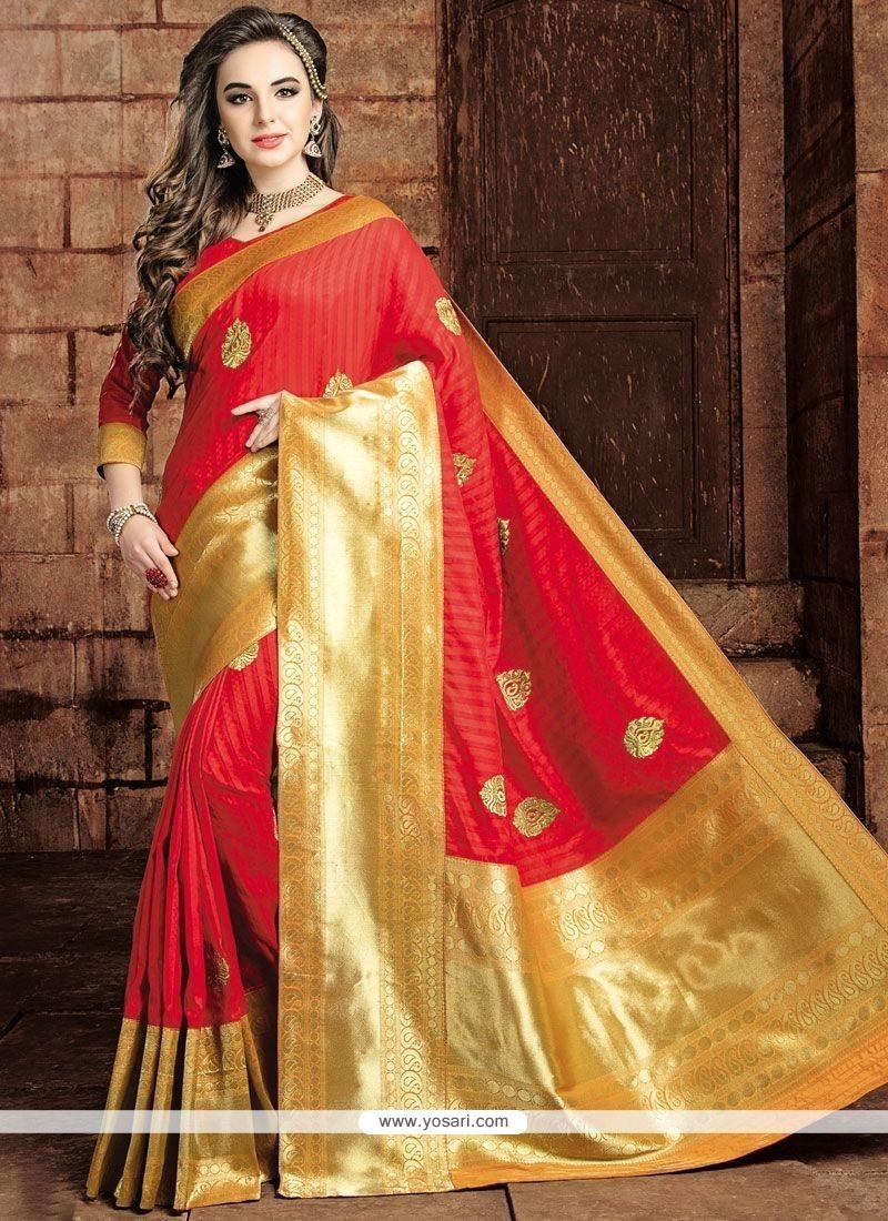 Ravishing Weaving Work Art Raw Silk Traditional Designer Saree