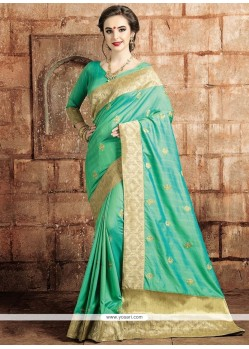 Competent Art Raw Silk Sea Green Weaving Work Traditional Saree