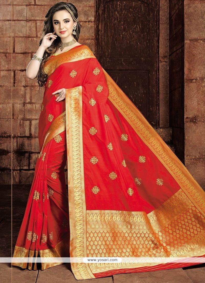 Peppy Red Weaving Work Traditional Saree