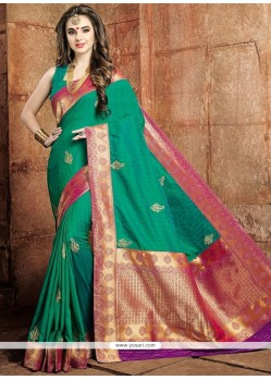Distinctively Art Raw Silk Weaving Work Designer Traditional Saree