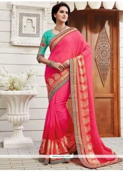 Impressive Patch Border Work Faux Chiffon Classic Designer Saree