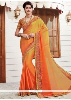 Ethnic Faux Chiffon Orange And Yellow Shaded Saree