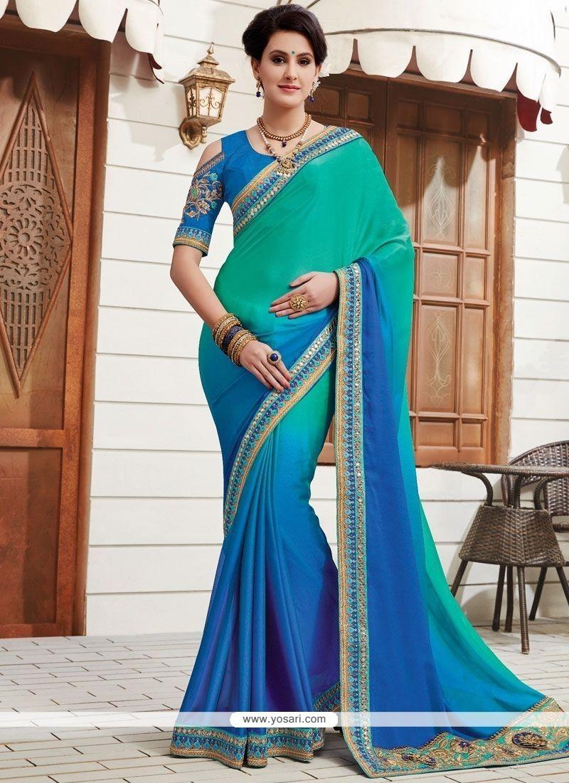 Latest Art Silk Blue Designer Traditional Saree
