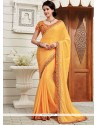 Observable Faux Chiffon Yellow Patch Border Work Classic Designer Saree