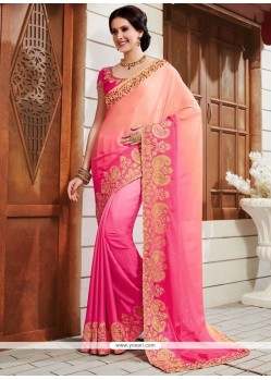 Mystical Art Silk Pink Patch Border Work Shaded Saree