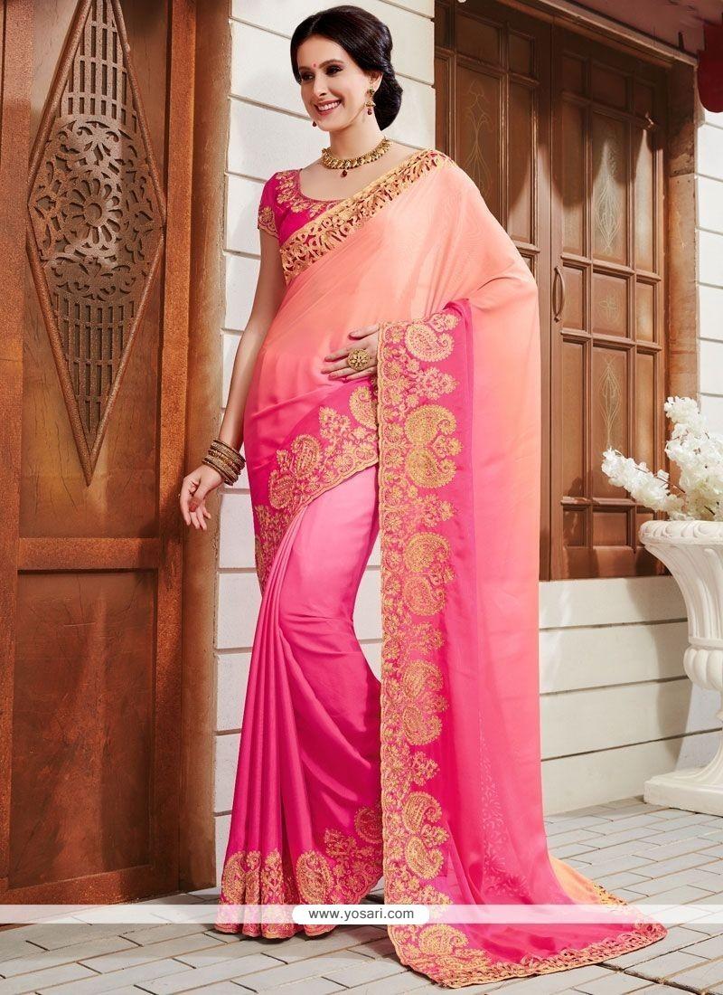Mystical Art Silk Pink Patch Border Work Shaded Saree