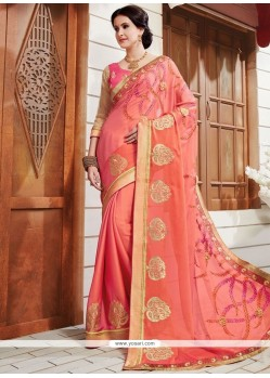 Imposing Embroidered Work Peach Classic Saree