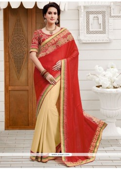 Vivacious Faux Georgette Cream And Red Patch Border Work Designer Half N Half Saree