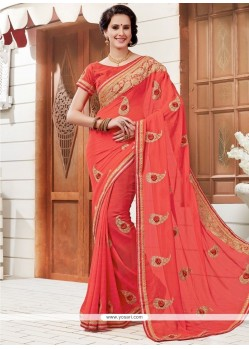 Orphic Faux Georgette Patch Border Work Classic Saree