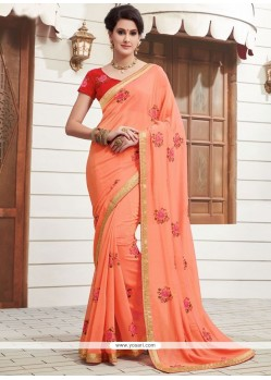 Exciting Peach Patch Border Work Faux Georgette Classic Designer Saree