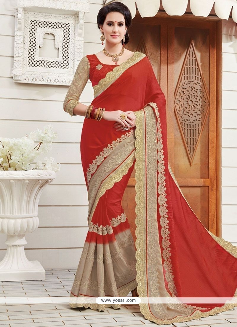 Awesome Red Patch Border Work Faux Chiffon Designer Saree