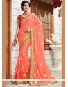 Flamboyant Patch Border Work Orange Classic Designer Saree