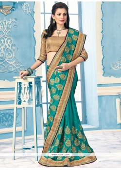 Tantalizing Crepe Silk Sea Green Designer Saree