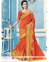 Stylish Orange Embroidered Work Designer Saree
