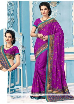 Refreshing Embroidered Work Classic Designer Saree