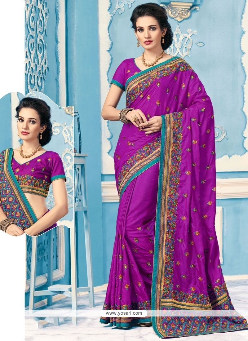 Refreshing Embroidered Work Classic Designer Saree
