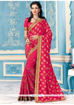 Invaluable Crepe Silk Magenta Patch Border Work Designer Saree