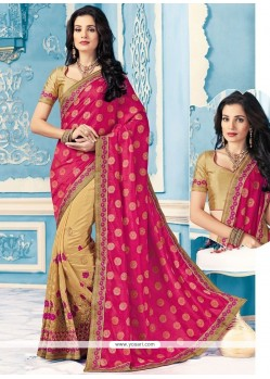 Snazzy Crepe Silk Embroidered Work Designer Half N Half Saree