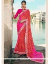 Blooming Faux Georgette Pink Shaded Saree