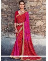 Swanky Faux Georgette Patch Border Work Shaded Saree