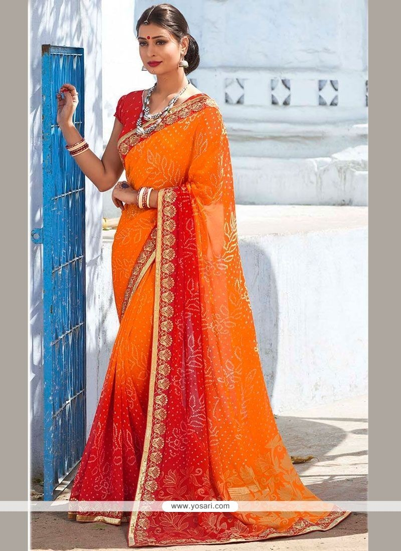Dignified Print Work Faux Georgette Shaded Saree