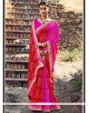 Prominent Faux Georgette Patch Border Work Shaded Saree