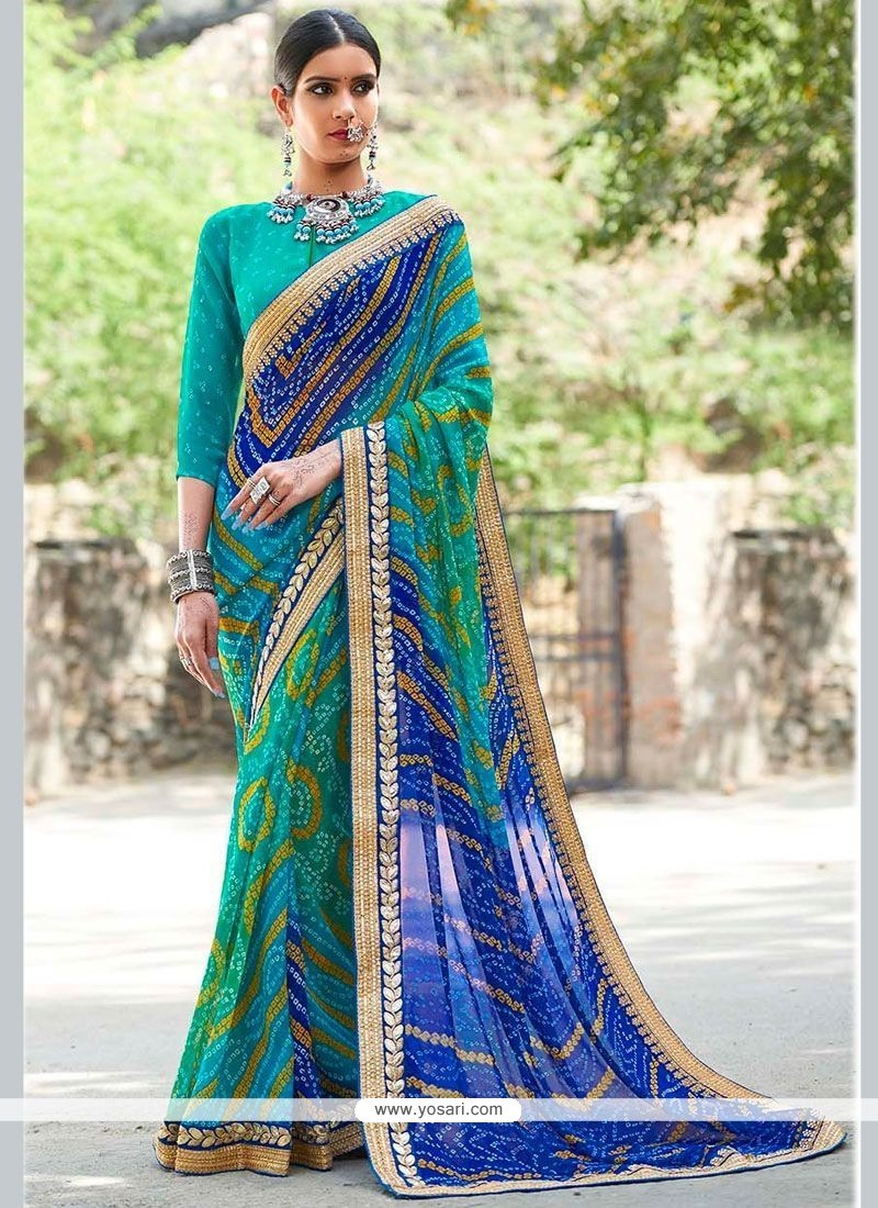 Pleasance Blue And Sea Green Shaded Saree