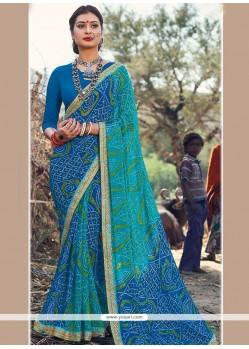 Versatile Faux Georgette Print Work Shaded Saree