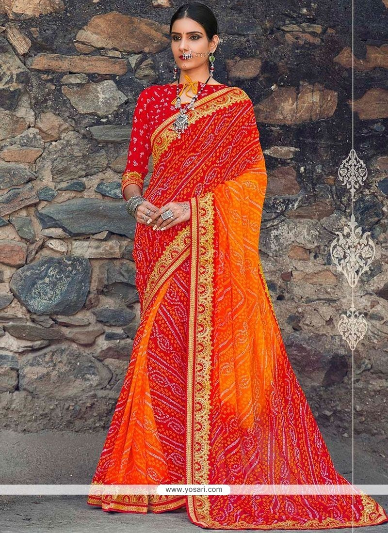 Sparkling Faux Georgette Orange And Red Print Work Shaded Saree