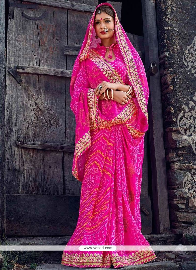 Best Hot Pink Patch Border Work Faux Georgette Printed Saree