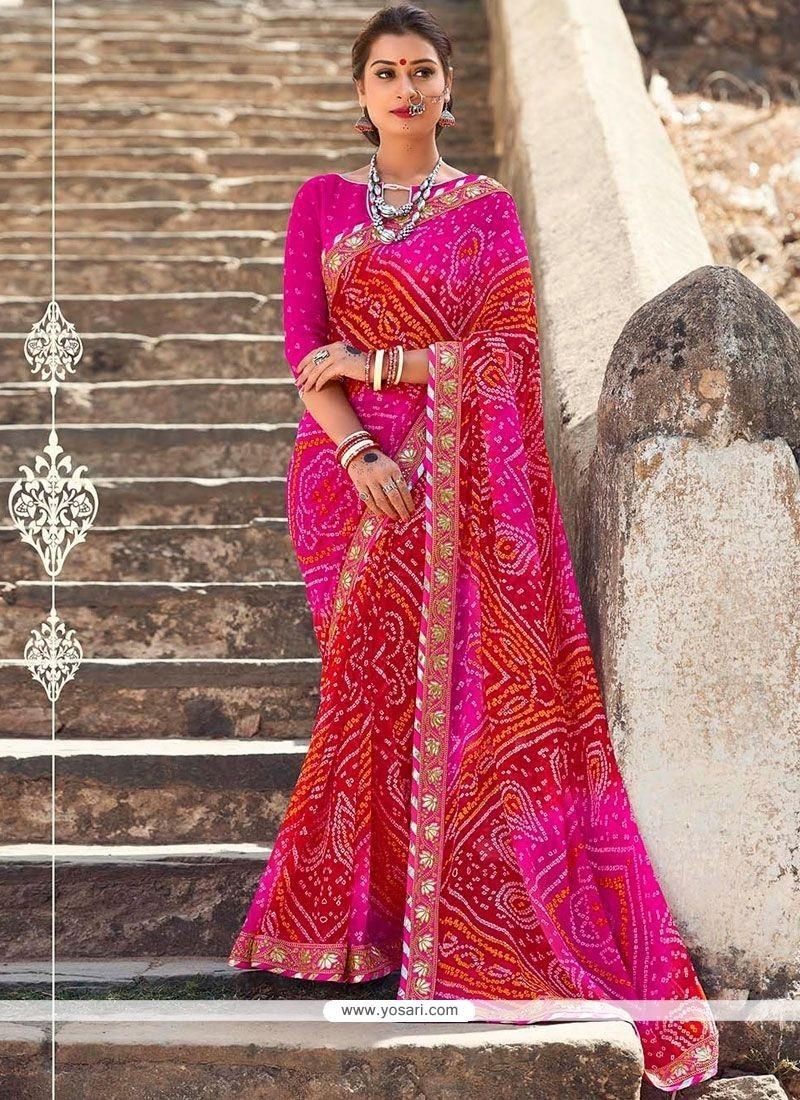 Customary Patch Border Work Hot Pink And Red Shaded Saree