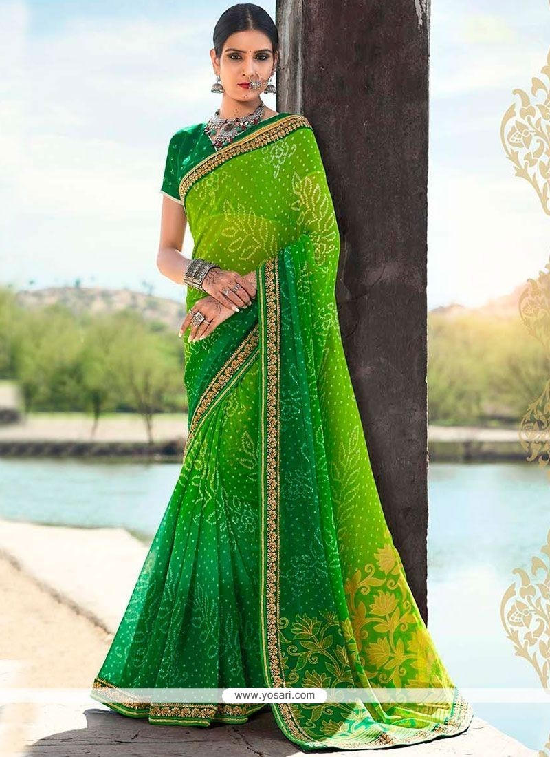 Delightsome Print Work Faux Georgette Shaded Saree