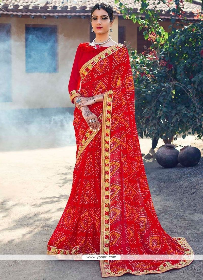 Competent Red Faux Georgette Printed Saree
