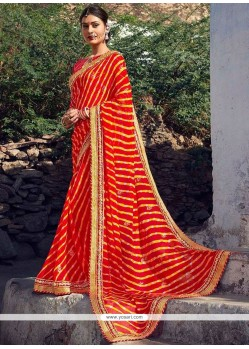 Mystical Faux Georgette Orange Printed Saree