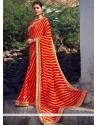 Mystical Faux Georgette Orange Printed Saree