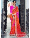 Vibrant Faux Georgette Print Work Shaded Saree