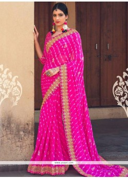 Modish Faux Georgette Hot Pink Print Work Printed Saree