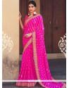 Modish Faux Georgette Hot Pink Print Work Printed Saree