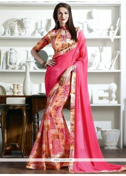 Sparkling Faux Georgette Printed Saree