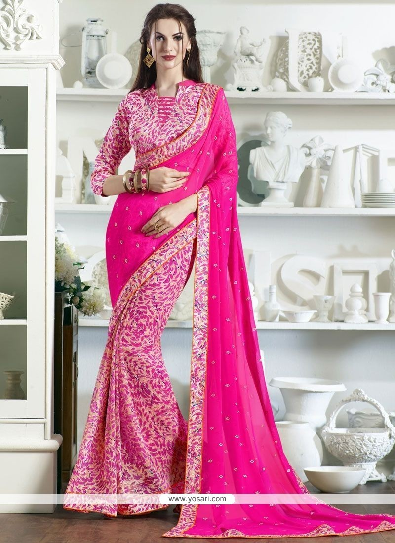 Innovative Fancy Fabric Pink Print Work Printed Saree