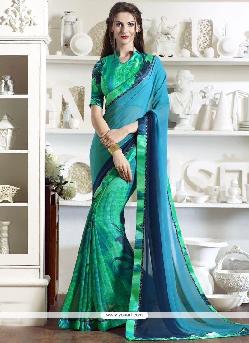 Stunning Print Work Faux Georgette Printed Saree