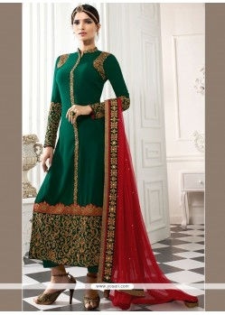 Praiseworthy Patch Border Work Green Faux Georgette Churidar Designer Suit
