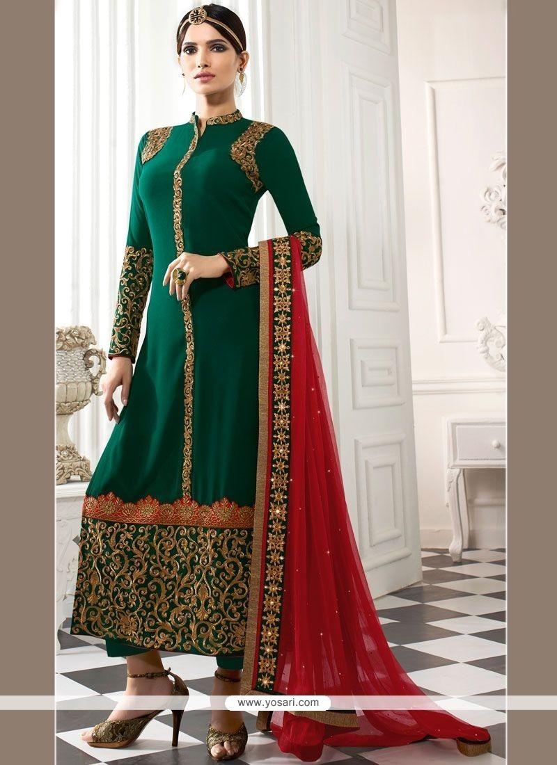 Praiseworthy Patch Border Work Green Faux Georgette Churidar Designer Suit